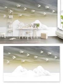 现代简约飞鸟3d立体山水抽象电视背景墙