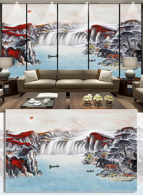 新中式电视背景墙水墨山水招财装饰画