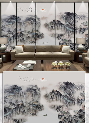新中式山水画电视背景墙抽象水墨装饰画