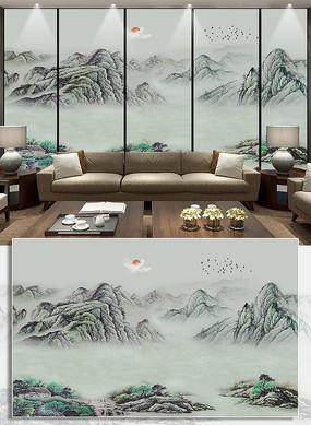 新中式水墨山水抽象山水招财电视背景墙壁画