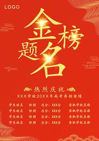 原创红色大气中高考金榜题名海报