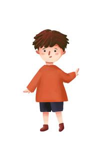原创手绘卡通人物小男孩插画素材PSD