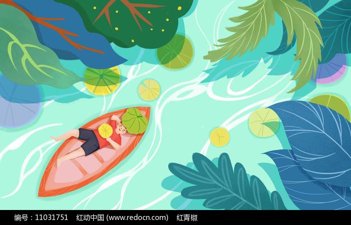 原创文艺小清新夏天河流小船素材PSD图片