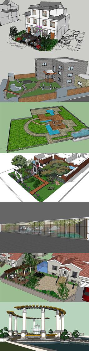 30套精美别墅庭院景观设计su模型