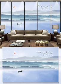 抽象山水现代简约水墨山水电视背景墙