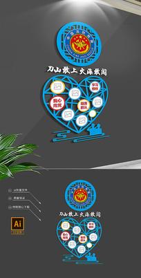 大气蓝色中国消防救援队竖版文化墙