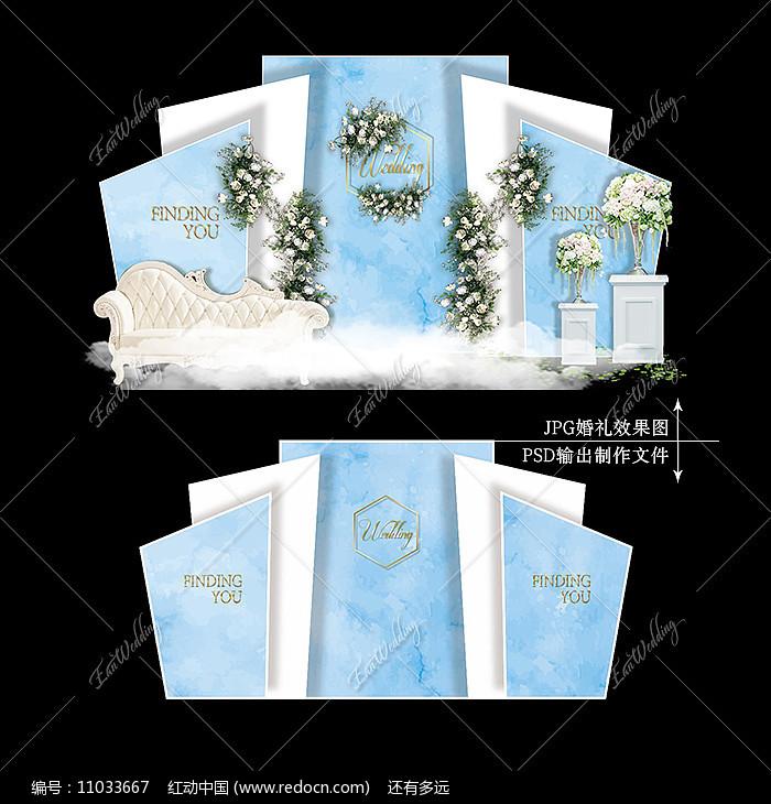 蓝白色婚礼舞台宴会效果图设计大理石纹婚庆图片