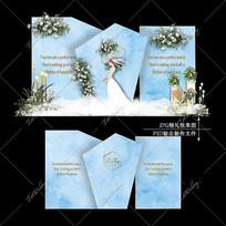 蓝金色主题婚礼效果图设计婚庆迎宾区背景