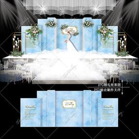 蓝色大理石主题婚礼效果图设计婚庆舞台背景