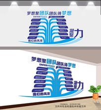 蓝色企业团队文化墙设计