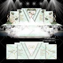 绿色大理石婚礼效果图设计婚庆舞台背景