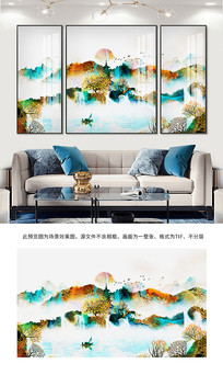 山水画水墨画背景墙