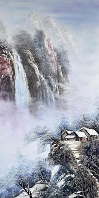 手绘冬天雪景高山流水油画玄关