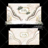 香槟色大理石婚礼效果图设计婚庆迎宾区背景