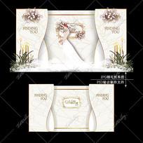 香槟色主题婚礼欧式简约婚庆迎宾区背景设计