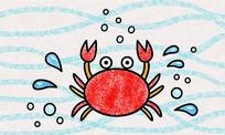 原创儿童蜡笔简笔画吐泡泡的小螃蟹