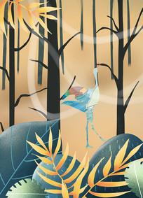 原创手绘插画风景森林丹顶鹤插画元素