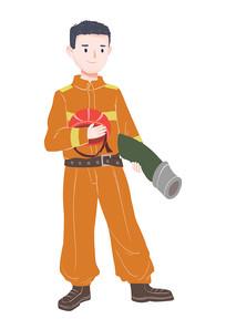 原创手绘插画人物消防员劳动节素材PSD