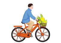 原创手绘插画小清新男孩自行车素材PSD