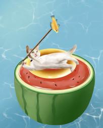 原创手绘插画游泳西瓜泳池小猫元素