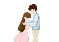 原创手绘小清新情人节情侣插画PSD