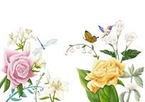 原创手绘小清新植物花卉蝴蝶插画PSD