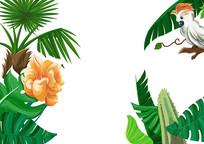 原创手绘雨林绿色植物花卉鹦鹉插画PSD