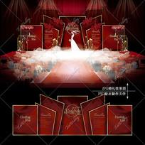红色系大理石婚礼效果图设计婚庆舞台背景