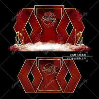 红色系大理石婚礼效果图设计婚庆迎宾区背景