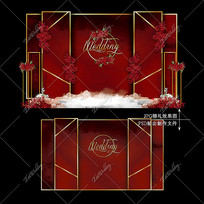 红色主题婚礼主舞台效果图设计婚庆迎宾区