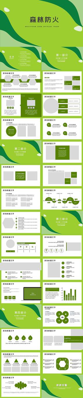 绿色森林防火PPT模板
