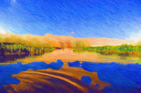 沙漠风光月亮湖油画装饰画