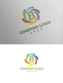时尚创意B字母彩色LOGO设计