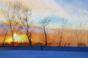 雾凇岛晚霞雪景创意立体画