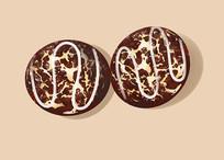 原创手绘插画美食甜品巧克力面包元素