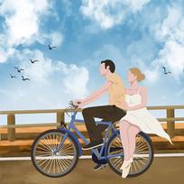 原创手绘插画骑单车的情侣元素