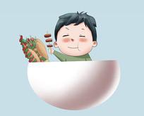原创手绘插画烧烤烧肉卡通可爱男孩元素
