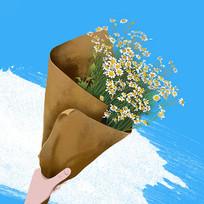 原创手绘插画小雏菊花束植物