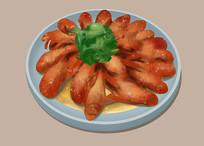 原创手绘插画小龙虾美食元素