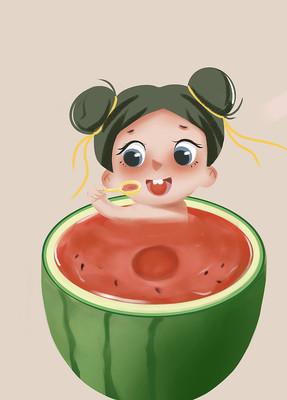 原创手绘插画夏日卡通可爱女孩西瓜元素