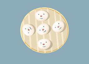 原创手绘插画早餐小猪包食物元素