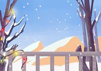 原创手绘冬天雪景房子彩灯素材PSD
