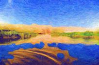 月亮湖沙漠湖泊油画