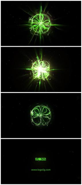 震撼粒子光线能量汇聚爆炸logo片头模板
