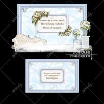 白蓝色大理石婚礼效果图设计婚庆迎宾区背景