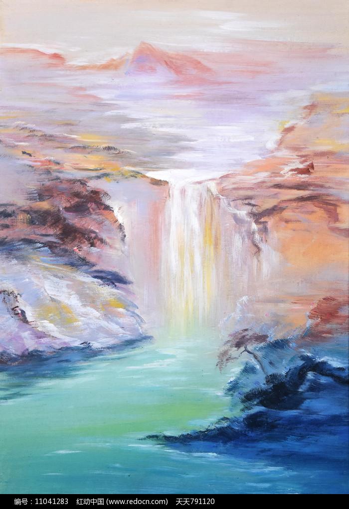 抽象高山流水油画装饰画图片