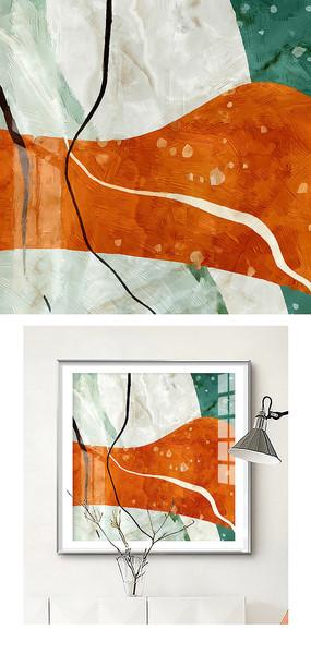 抽象手绘新中式油画装饰画