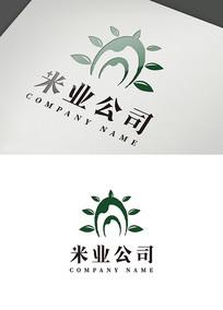 创意绿色大米造型logo