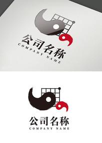创意太极文化棋盘logo设计
