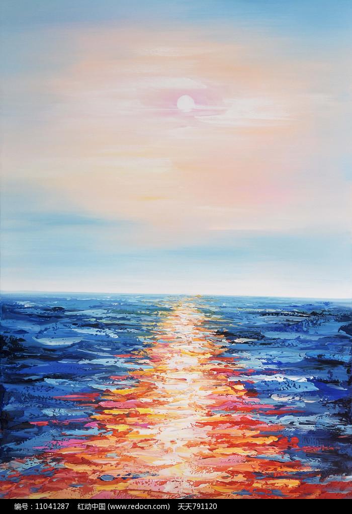 海上日出风景油画装饰画图片